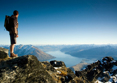 Hiker above Wakatipu Basin